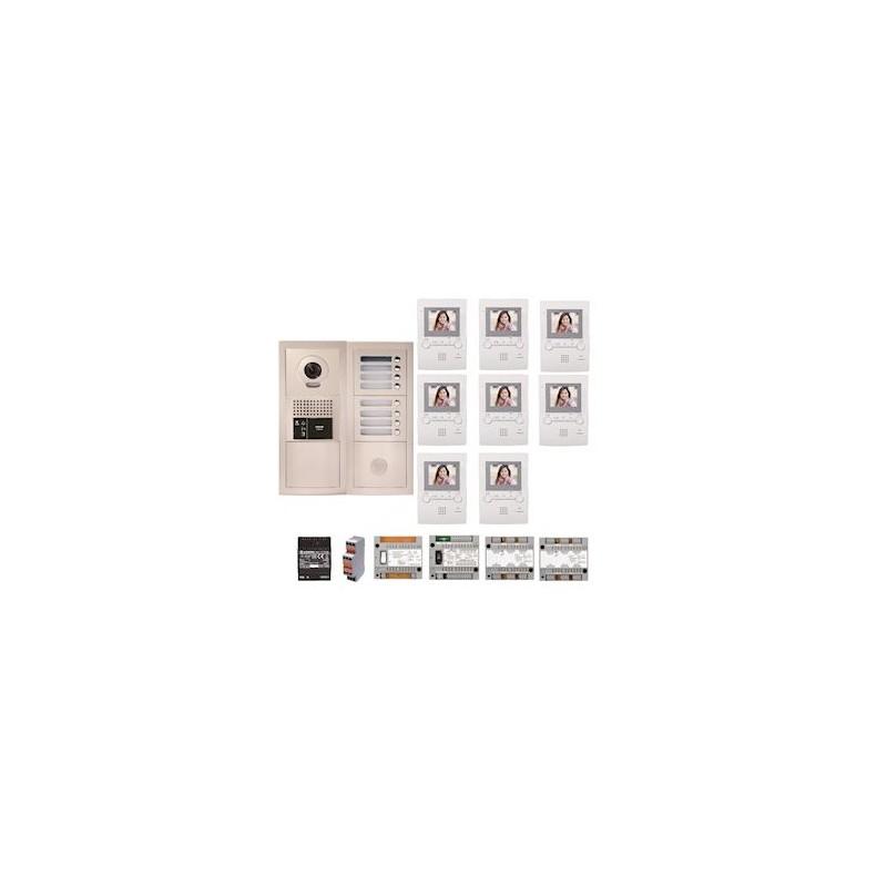 Pack vidéo GTBV8E 8 boutons avec 8 moniteurs GT1M3 programmés Aiphone