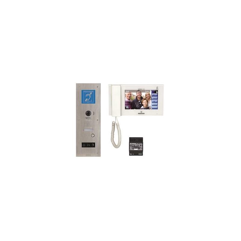 Kit vidéo accessibilité avec boucle magnétique platine inox Aiphone JPDVFLBM