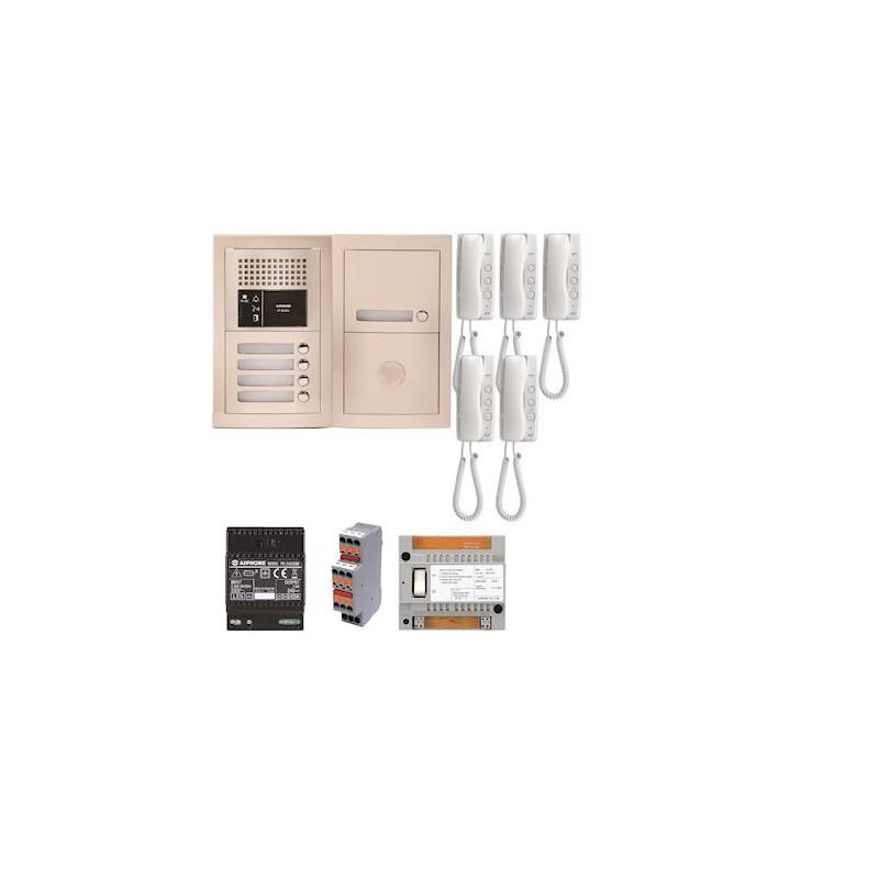 Pack audio pour 5 logements encastré avec 5 combinés Aiphone GTBA5E