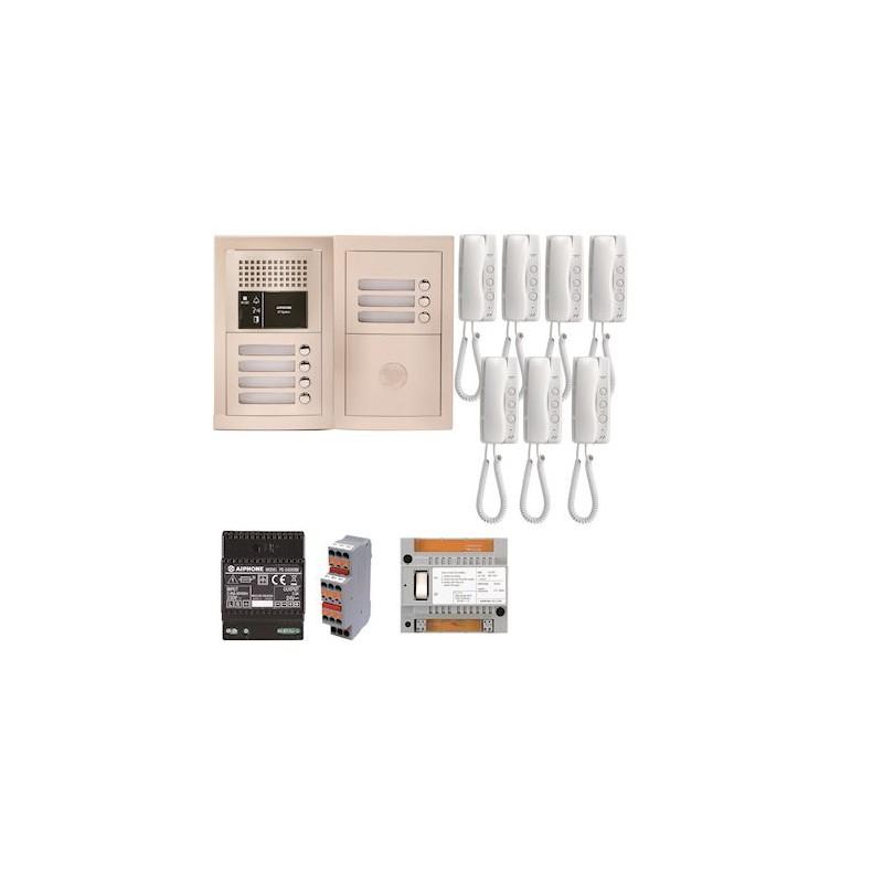 Pack audio pour 7 logements encastré avec 7 combinés Aiphone GTBA7E