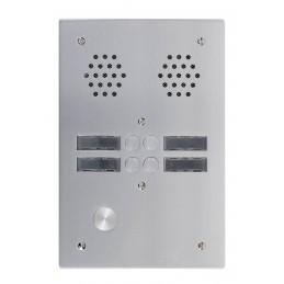 Platine  Alu 6 mm Interphone 2 Rangées 4 Boutons D'appels URMET 7772/4